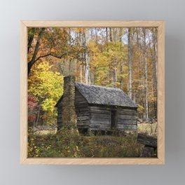 Smoky Mountain Rural Rustic Cabin Autumn View Framed Mini Art Print