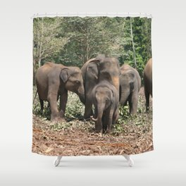 Sri Lanka Elephants in Jungle Landscape Shower Curtain
