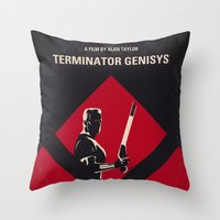 No802-5 My The Terminator 5 minimal movie poster Throw Pillow