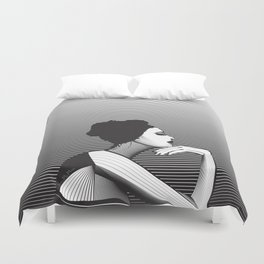 Black and White Female Duvet Cover