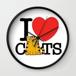 I Love (Heart) Cats Wall Clock