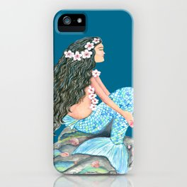 Mermaid on a rock with flowers and shells iPhone Case