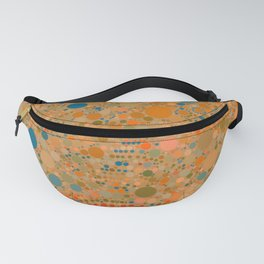 MADRID warm rich tones ochre orange blue abstract dot design Fanny Pack
