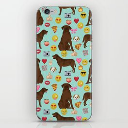 Chocolate lab emoji labrador retrievers dog breed iPhone Skin