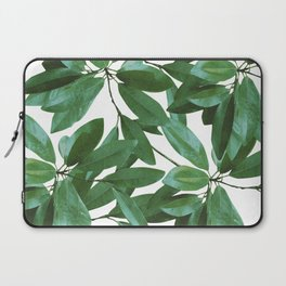 Southern Magnolia Leaves Pattern, white background Laptop Sleeve