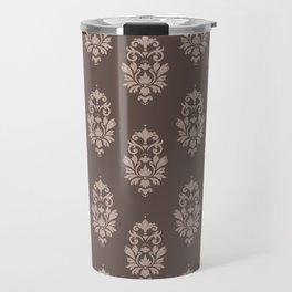 baroque pattern wallpaper damask seamless coffee and cream Travel Mug