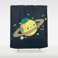 saturn Shower Curtains featuring DJ Saturn by Lili Batista