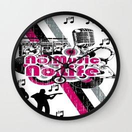 No music, no life Wall Clock