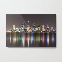 Perth Skyline By Night Metal Print