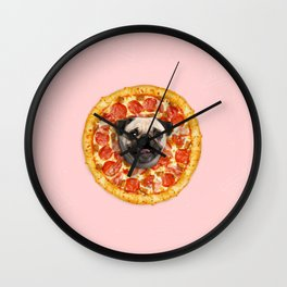Pug Lover Pizza Wall Clock