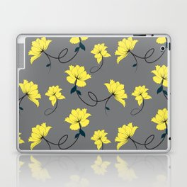 Yellow Flowers on Gray/Grey background, floral pattern Laptop & iPad Skin