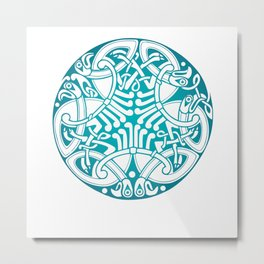 St. Patrick's Day Celtic Blue Mandala #6 Metal Print