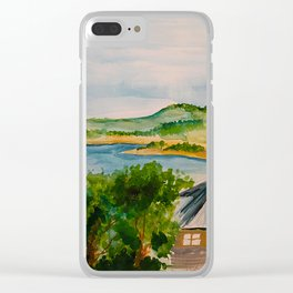 Canyon Lake Watercolor Clear iPhone Case