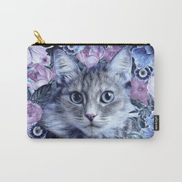 Cat In Flowers. Winter Carry-All Pouch