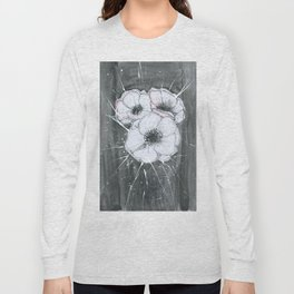 Anemone Flowers illustration gray neutral colors decor Long Sleeve T-shirt