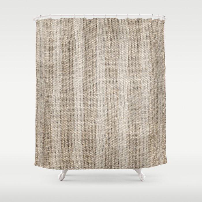Striped burlap (Hessian series 3 of 3) Shower Curtain