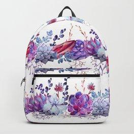 Pastel pink lavender blue watercolor succulents cactus floral Backpack