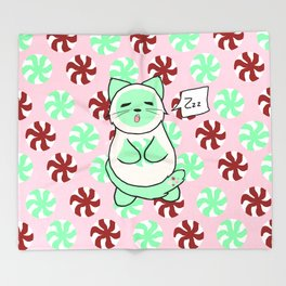 Mint Cream Candy Throw Blanket