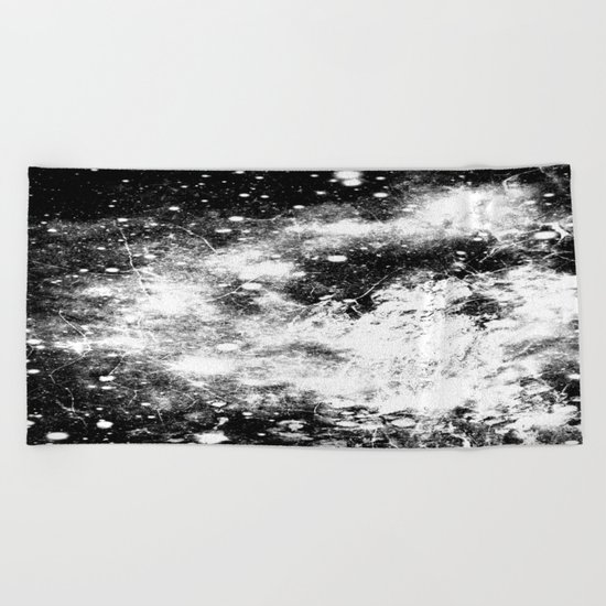 Chaotic Space : Galaxy Black White Gray Beach Towel