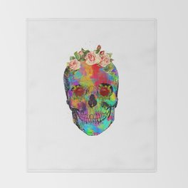 Flowers colorful skull watercolor Throw Blanket