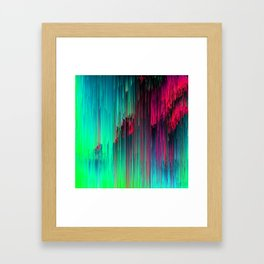 Just Chillin' - Abstract Neon Glitch Pixel Art Framed Art Print