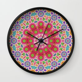 Brightly coloured kaleidoscope of abstract spring flowers Wall Clock