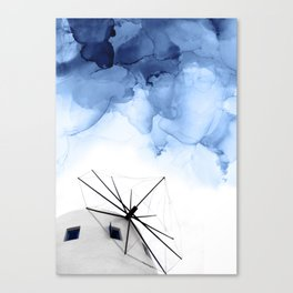 Blue Abstract Painting, Windmill Photography Canvas Print