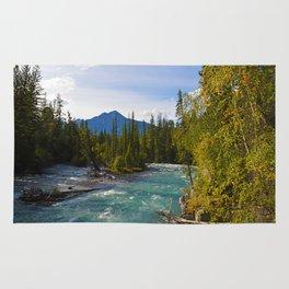 Maligne River & Pyramid Mountain in Jasper National Park, Canada Rug