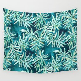 SANTA CRUZIN' Navy Tropical Palm Leaves Wall Tapestry