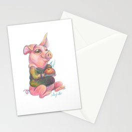 Cute Pig with a Pie Illustration Stationery Cards