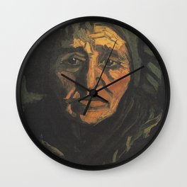 Head of a Peasant woman with Greenish Hood Wall Clock