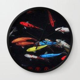 Chinese Symbols 'Peace & Family' Koi Pond Decorative Painting by Jeanpaul Ferro Wall Clock
