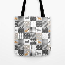 Corgi Patchwork Print - grey, dog, buffalo plaid, plaid, mens corgi dog Tote Bag
