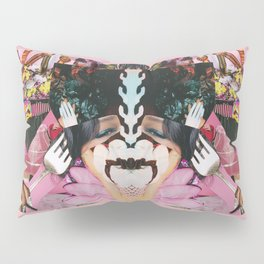 let them eat cake! a pink and green paper collage Pillow Sham