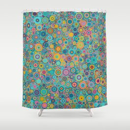 Psychedelic funky Seventies disco party Shower Curtain