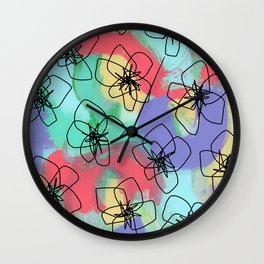 Hibiscus Family no.2 - hibiscus flower illustration floral pattern summer painting Wall Clock