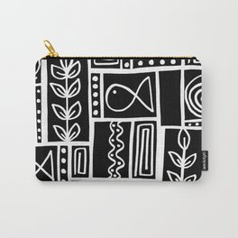 Fishes Seaweeds and Shells - Black Carry-All Pouch