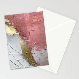 Darling: a minimal, abstract mixed-media piece in pink, white, and gold by Alyssa Hamilton Art Stationery Cards