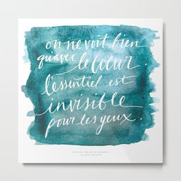 Le Petit Prince L'Essentiel Quote Metal Print