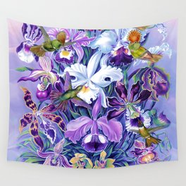 Orchids & Hummingbirds Wall Tapestry