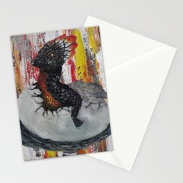 Fire Baby Dragon, Hatching Egg, Original painting by Luna Smith, LuArt Gallery Stationery Cards
