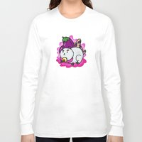 bee and puppycat Long Sleeve T-shirts featuring A Chubby Puppycat by Kristin Frenzel