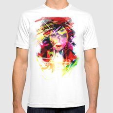 color MEDIUM White Mens Fitted Tee
