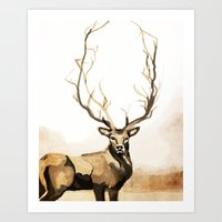 Winter Stag Art Print