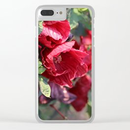 Glorious Giant Red Hibiscus Clear iPhone Case