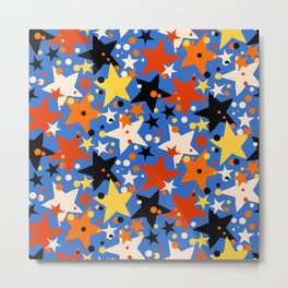 Fun ditsy print with bright colorful stars Metal Print