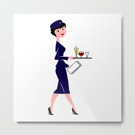 Vintage Flight Attendant Metal Print