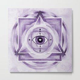 Watercolor Sacred Geometry Altar Pyramid Metal Print
