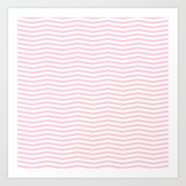 Light Soft Pastel Pink and White Chevron Art Print