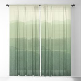 gradient landscape green Sheer Curtain